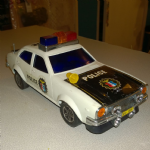 rare Cien Ge 70's Battery Operated highway patrol police car Honda chevrolet ? unboxed
